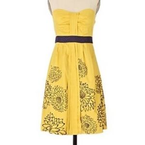 Floreat Anthropologie Yellow and Purple Dress